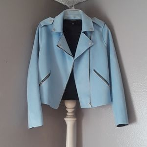 Light blue suede motorcycle jacket